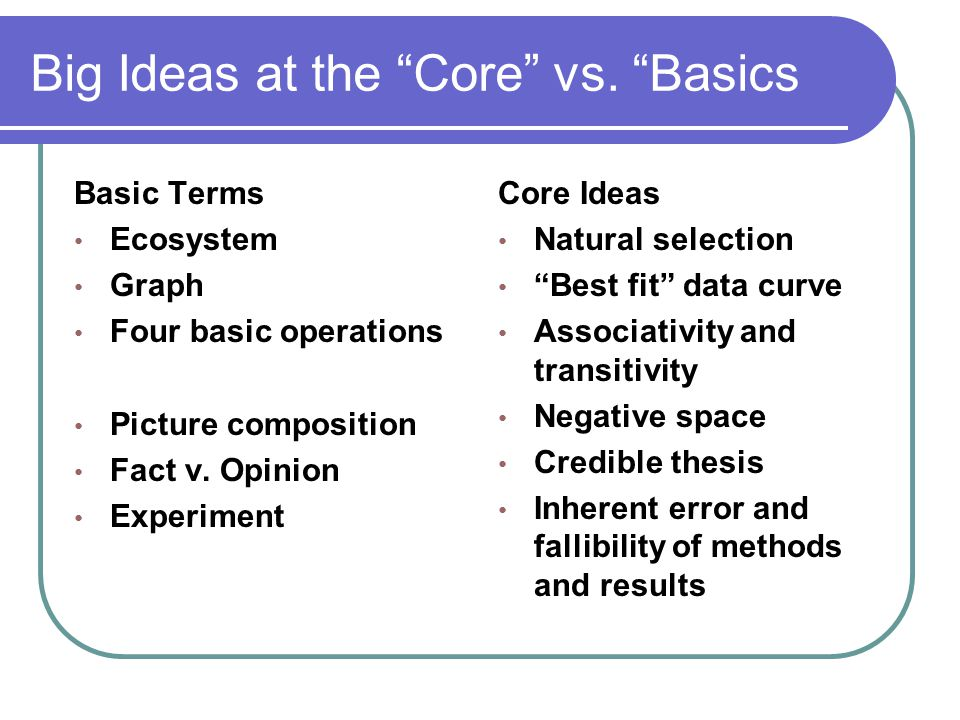 Big Ideas at the Core vs. Basics