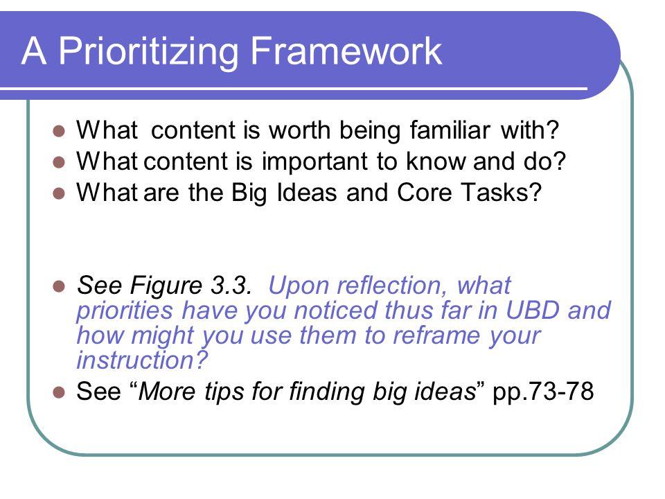 A Prioritizing Framework