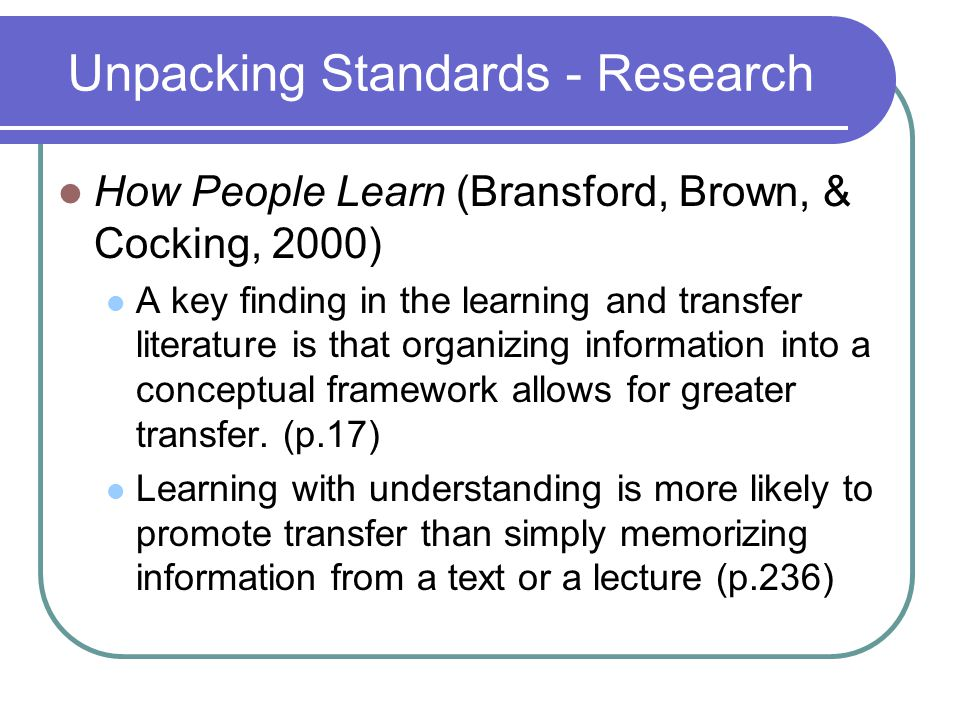 Unpacking Standards - Research