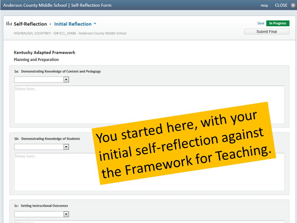You started here, with your initial self-reflection against the Framework for Teaching.