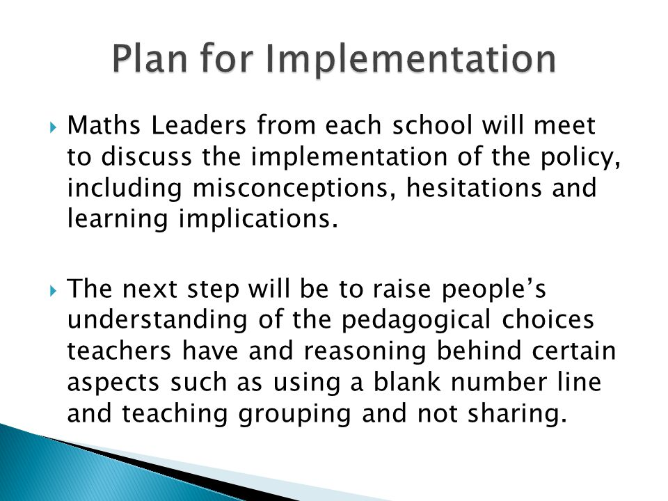 Plan for Implementation