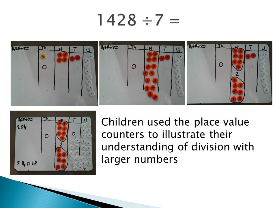1428 ÷7 = Children used the place value counters to illustrate their understanding of division with larger numbers.
