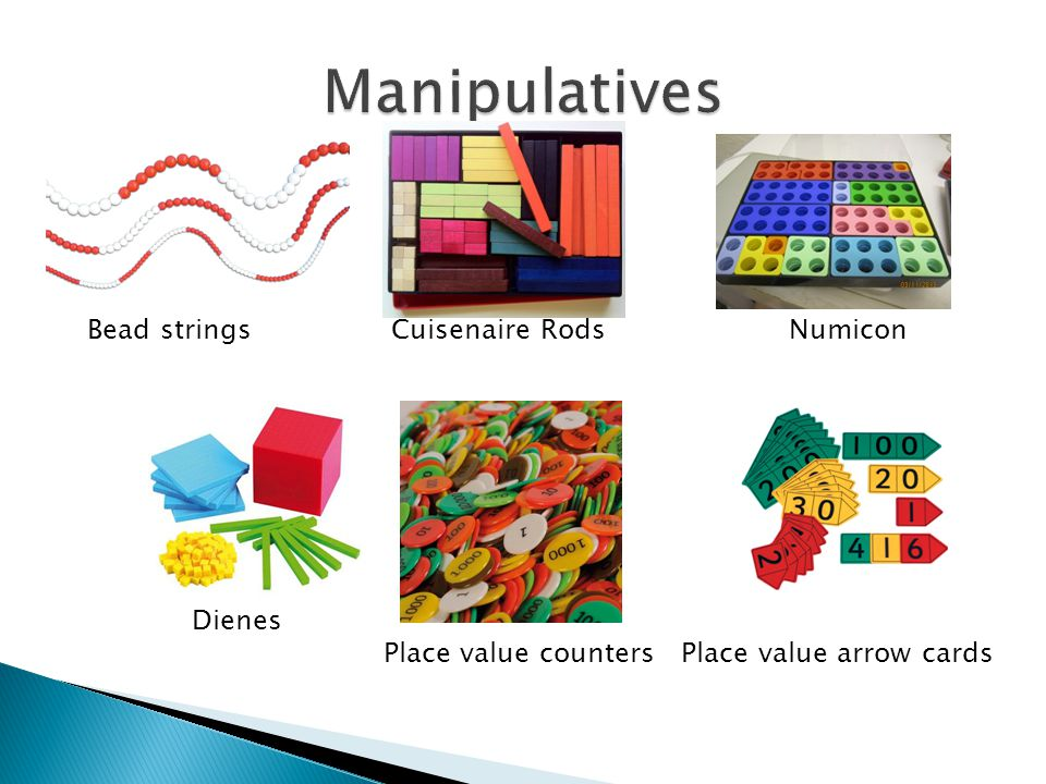 Manipulatives Bead strings Cuisenaire Rods Numicon Dienes