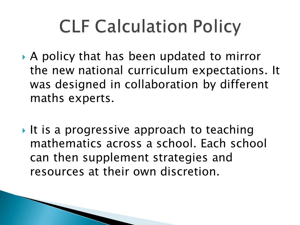 CLF Calculation Policy