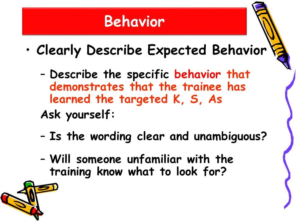 Behavior Clearly Describe Expected Behavior