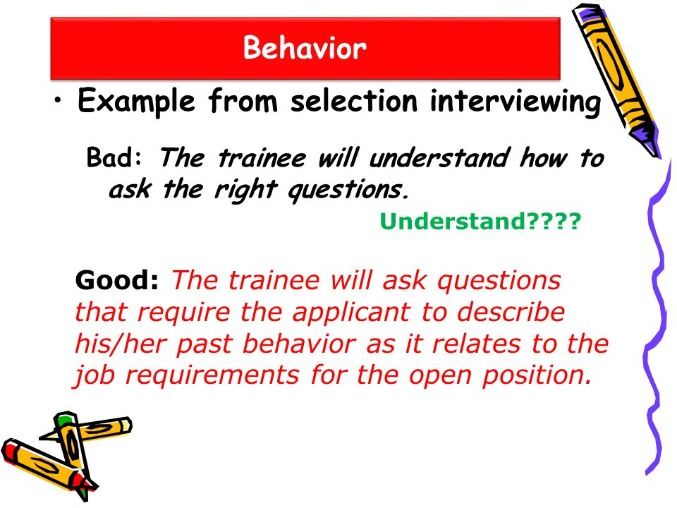 Example from selection interviewing