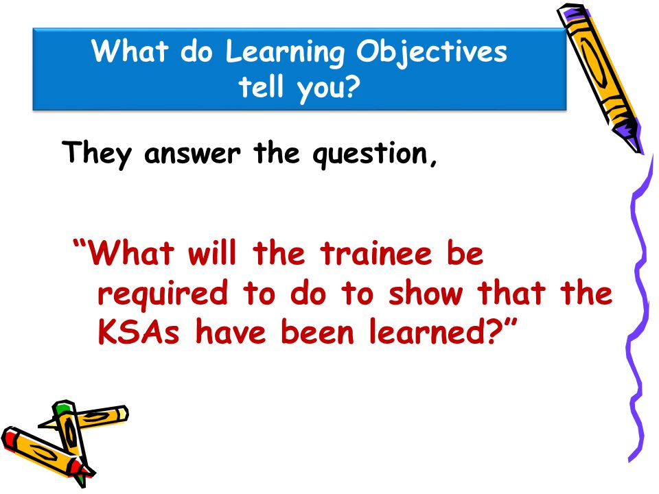 What do Learning Objectives tell you