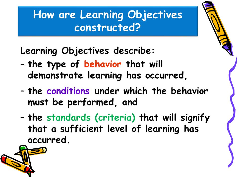 How are Learning Objectives constructed