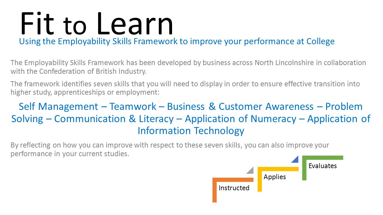 Fit to Learn Using the Employability Skills Framework to improve your performance at College.