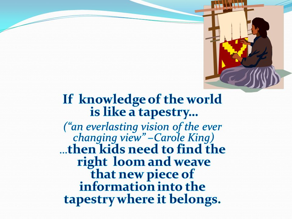 If knowledge of the world tapestry where it belongs.