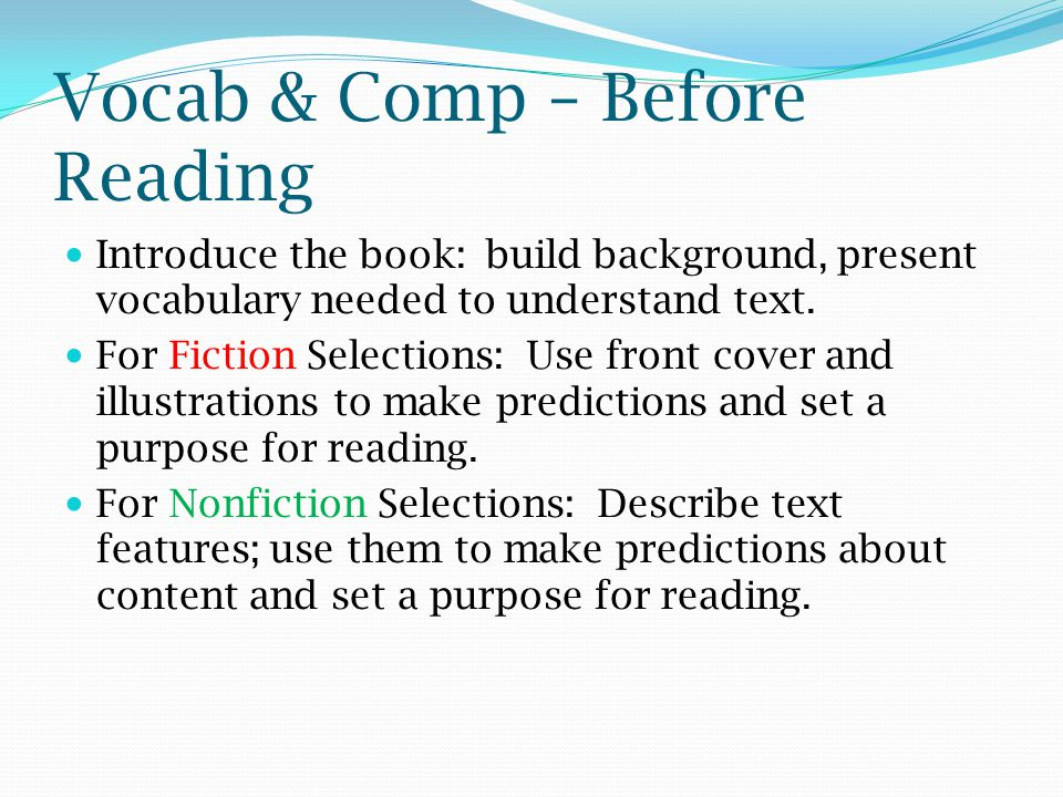 Vocab & Comp – Before Reading
