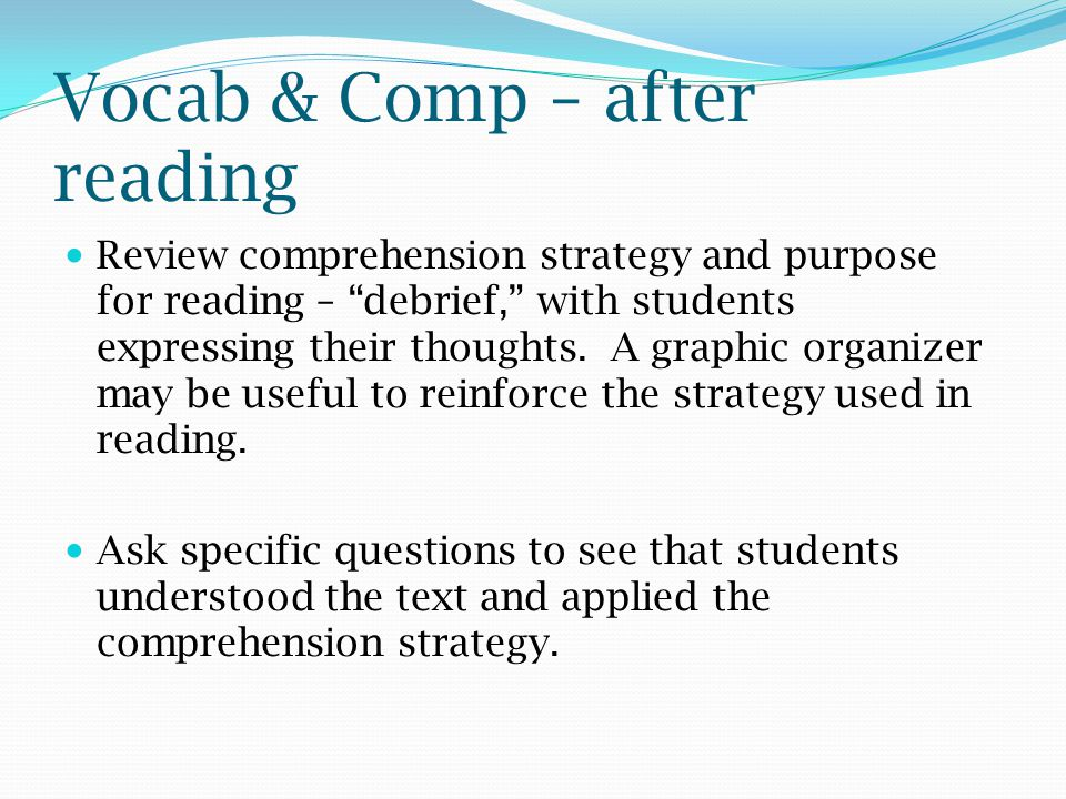 Vocab & Comp – after reading