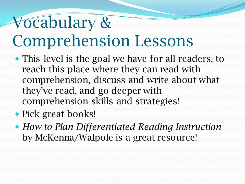 Vocabulary & Comprehension Lessons