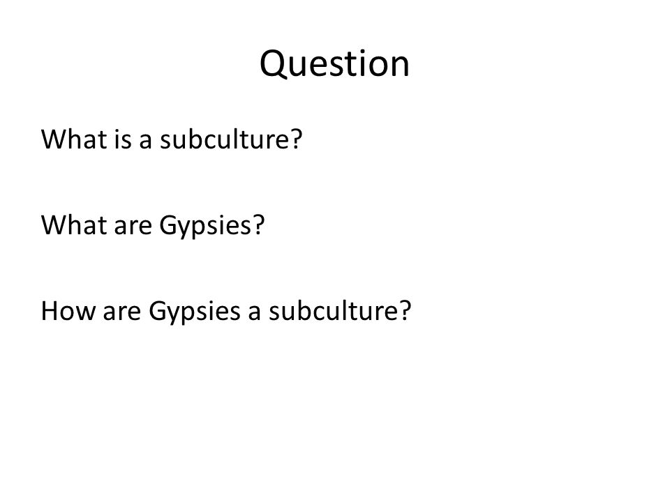 Question What is a subculture What are Gypsies How are Gypsies a subculture