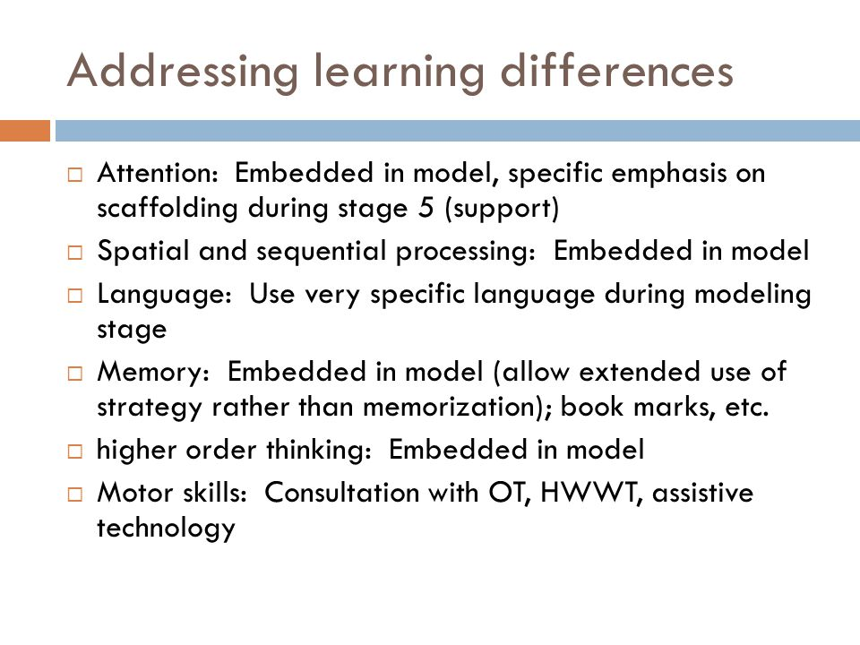Addressing learning differences
