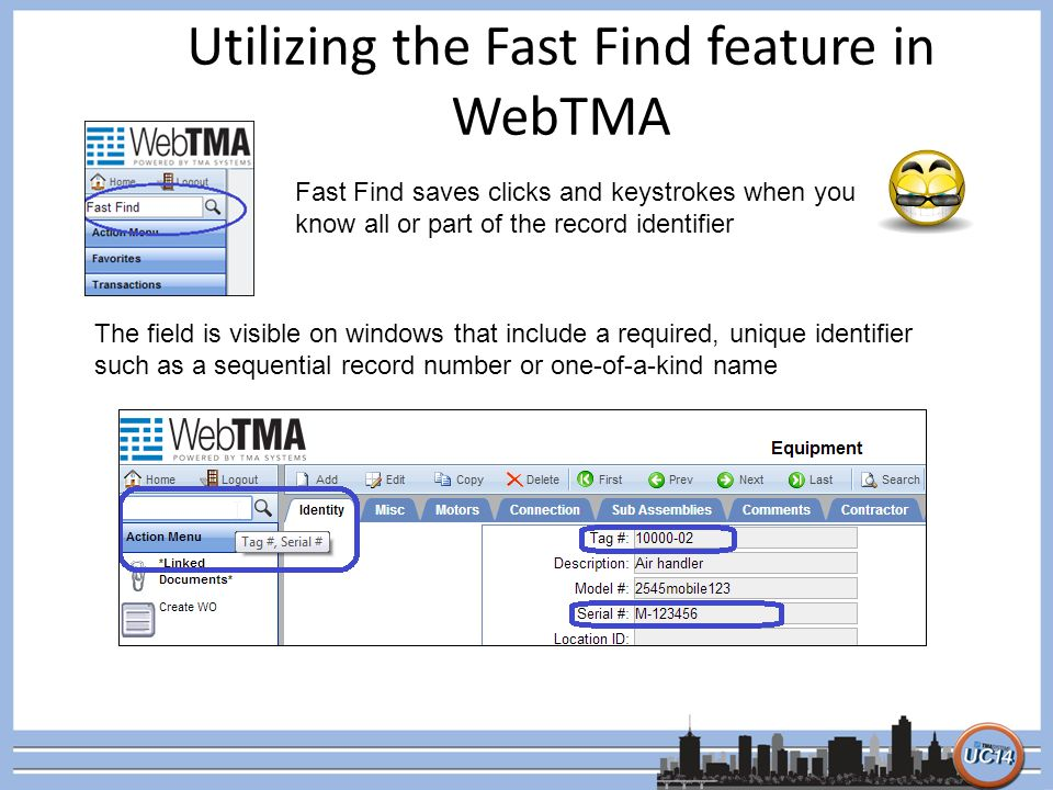 Utilizing the Fast Find feature in WebTMA