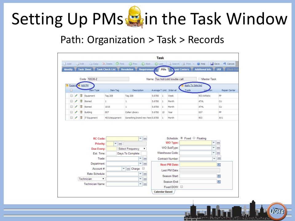 Setting Up PMs in the Task Window