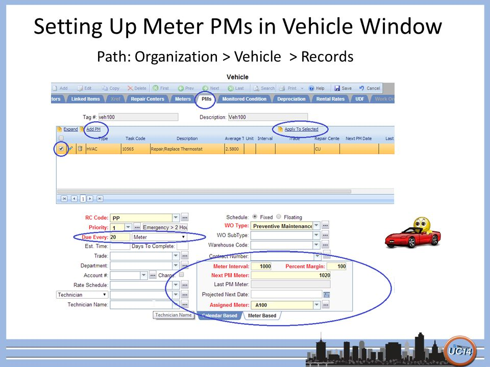 Setting Up Meter PMs in Vehicle Window
