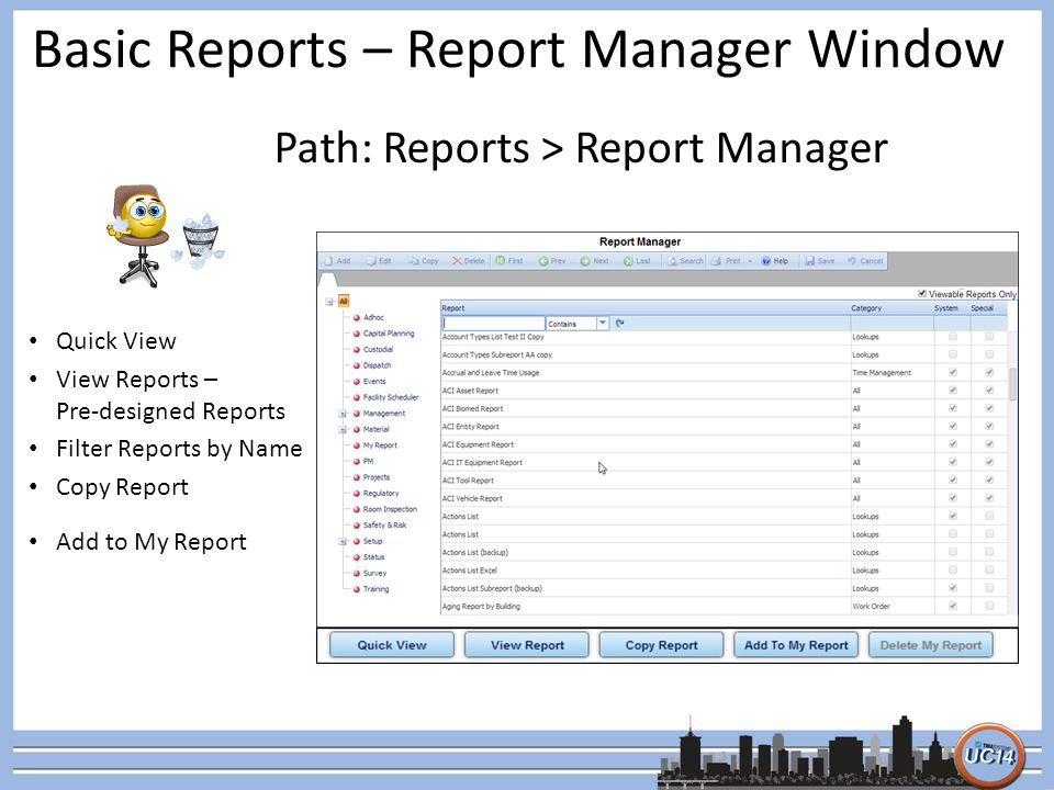 Basic Reports – Report Manager Window