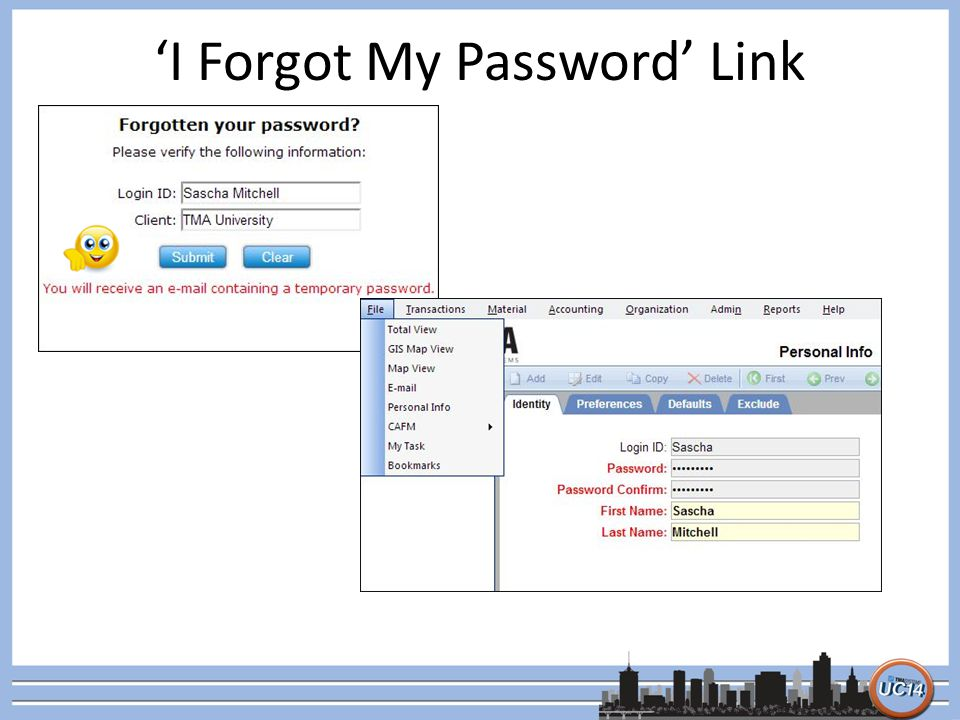 'I Forgot My Password' Link