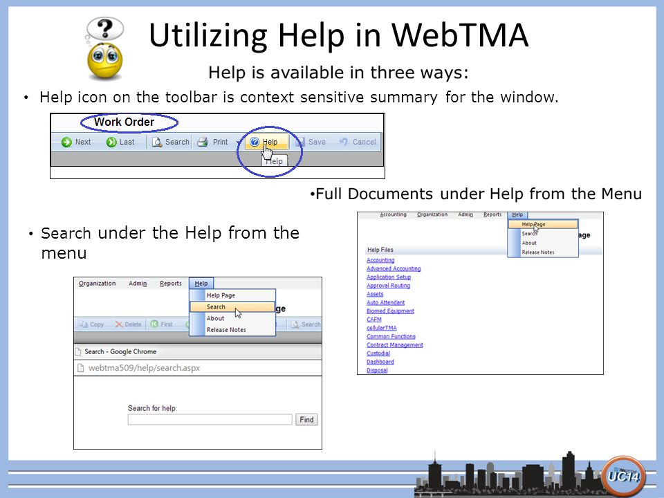 Utilizing Help in WebTMA