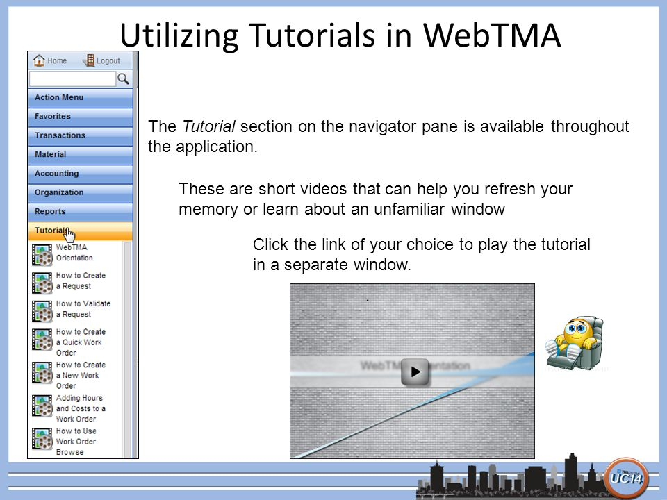 Utilizing Tutorials in WebTMA