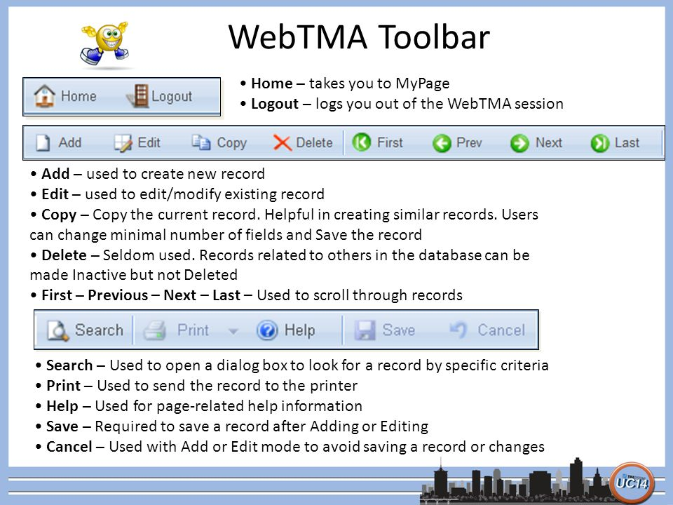 WebTMA Toolbar Home – takes you to MyPage