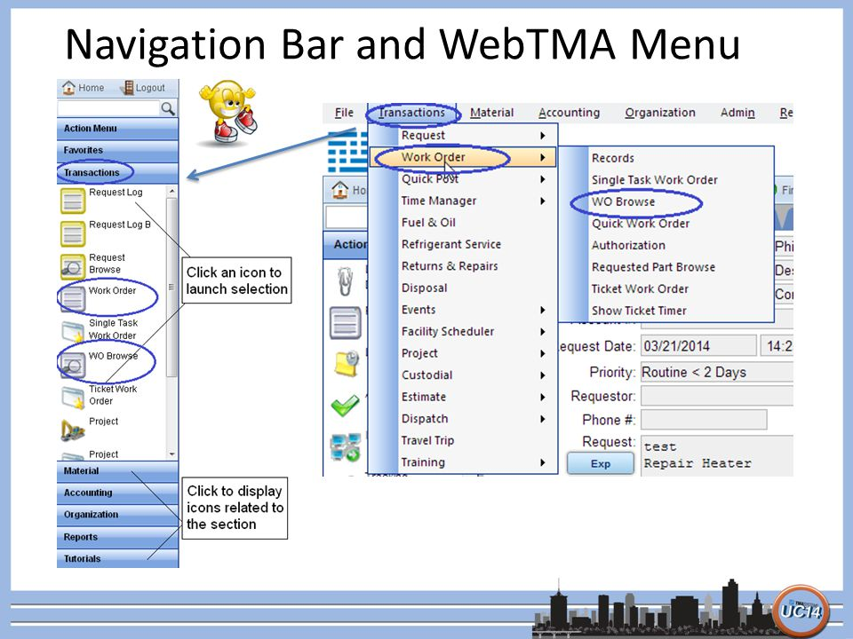 Navigation Bar and WebTMA Menu