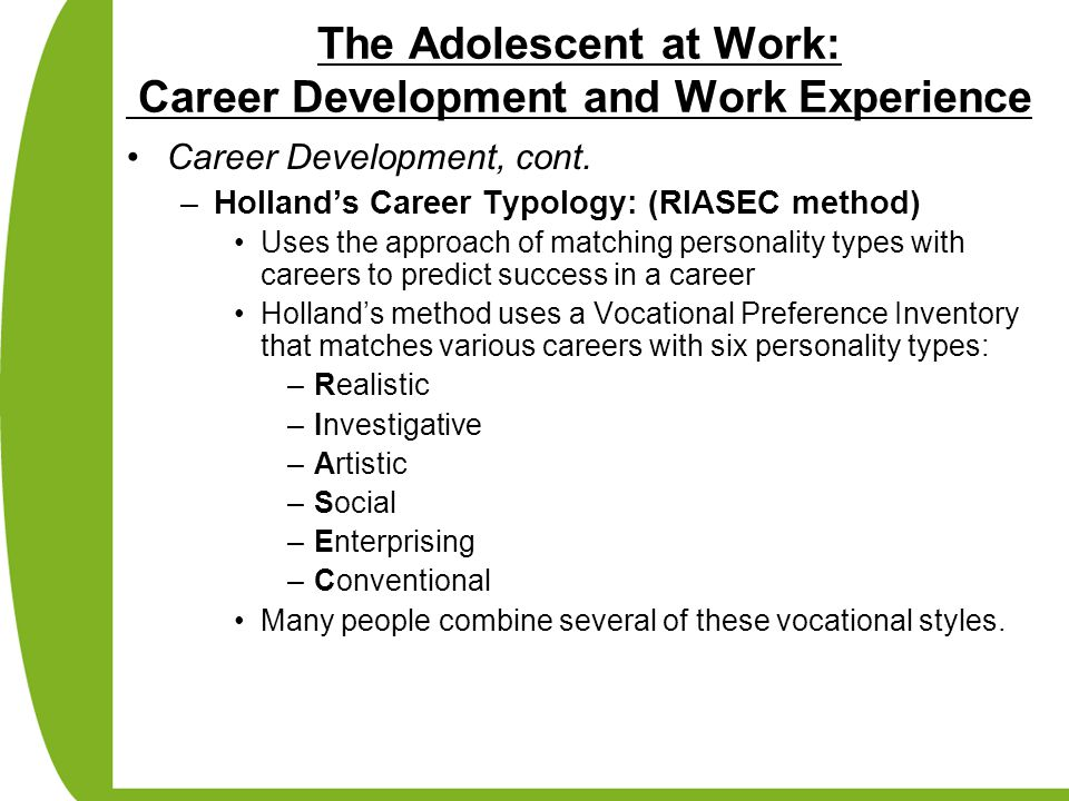 The Adolescent at Work: Career Development and Work Experience