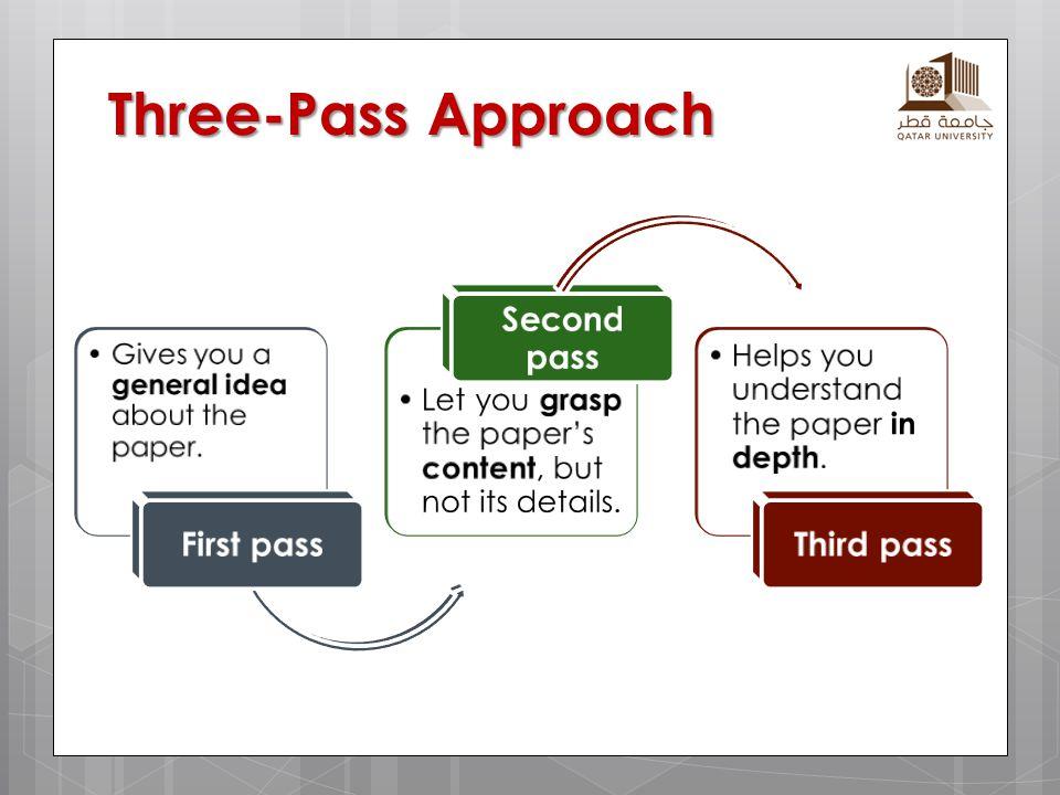 Three-Pass Approach First pass Second pass Third pass