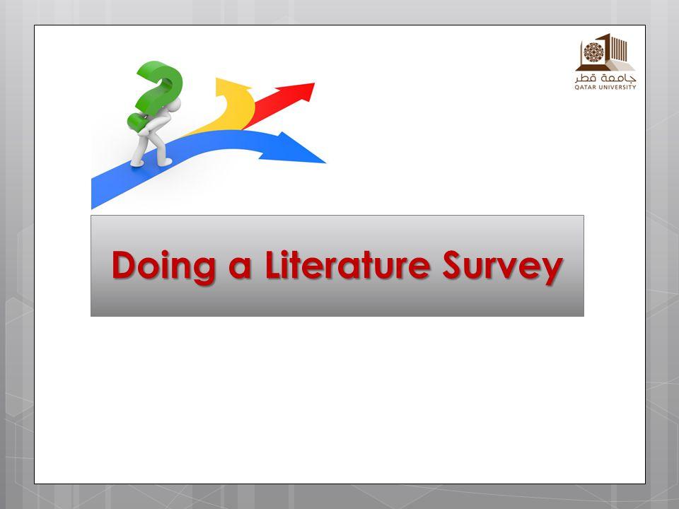 Doing a Literature Survey