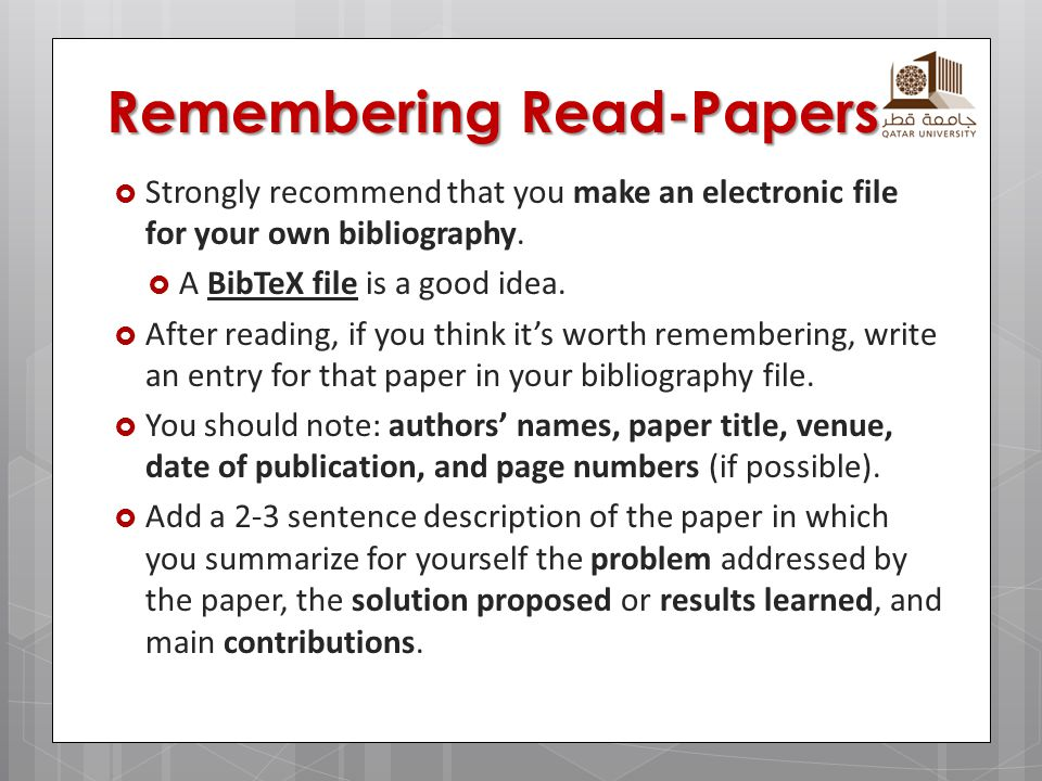 Remembering Read-Papers