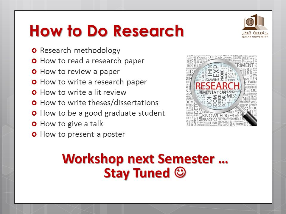 Workshop next Semester … Stay Tuned 