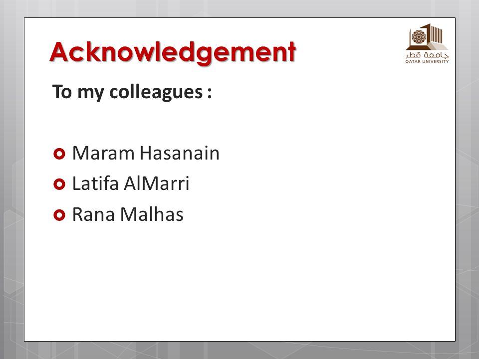Acknowledgement To my colleagues : Maram Hasanain Latifa AlMarri