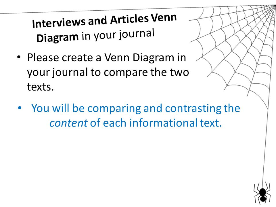 Interviews and Articles Venn Diagram in your journal