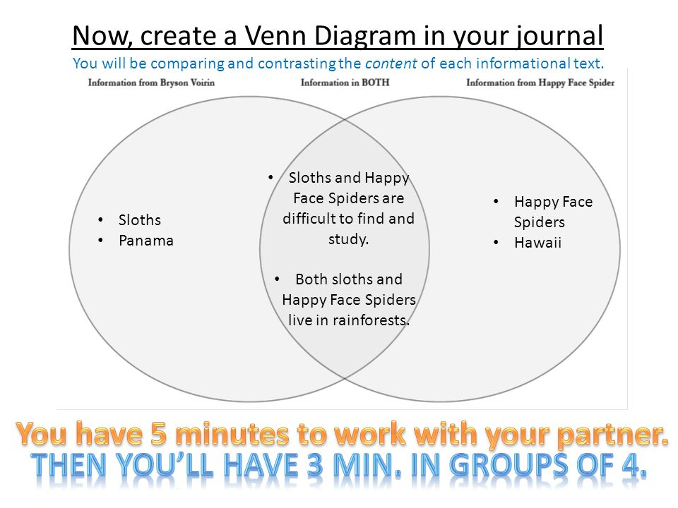 Now, create a Venn Diagram in your journal