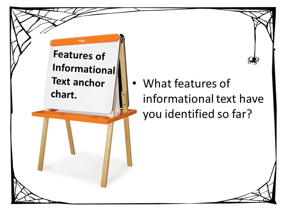 Features of Informational Text anchor chart.