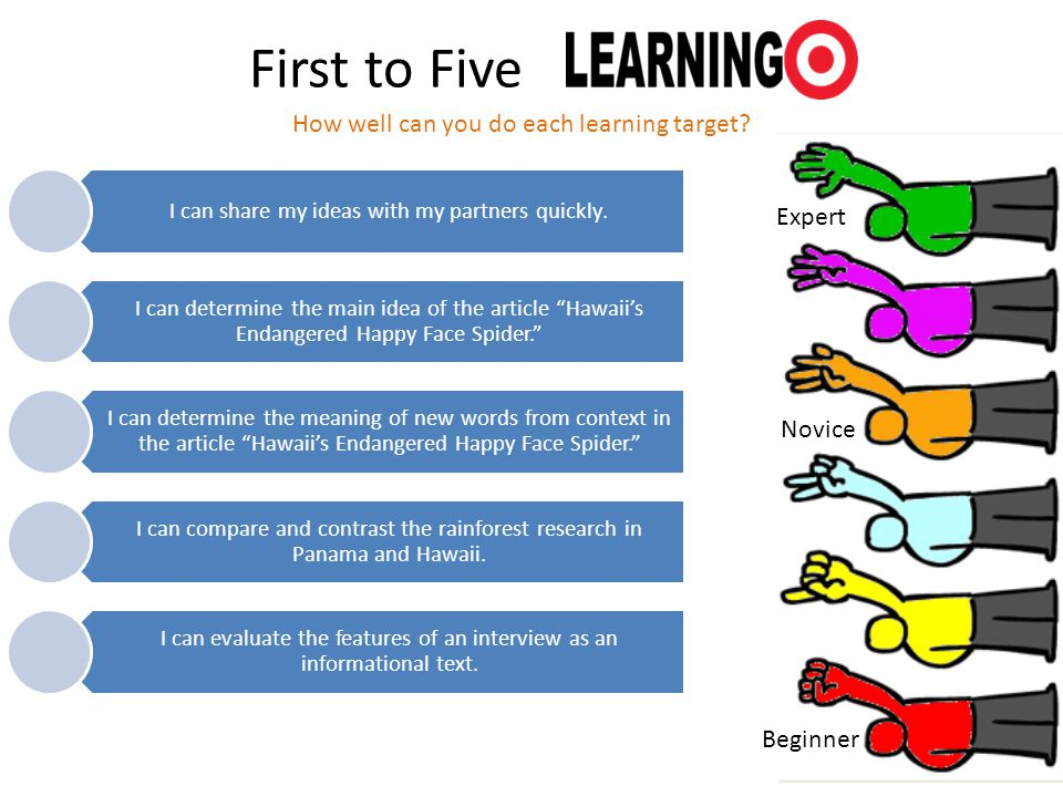 First to Five How well can you do each learning target Expert Novice