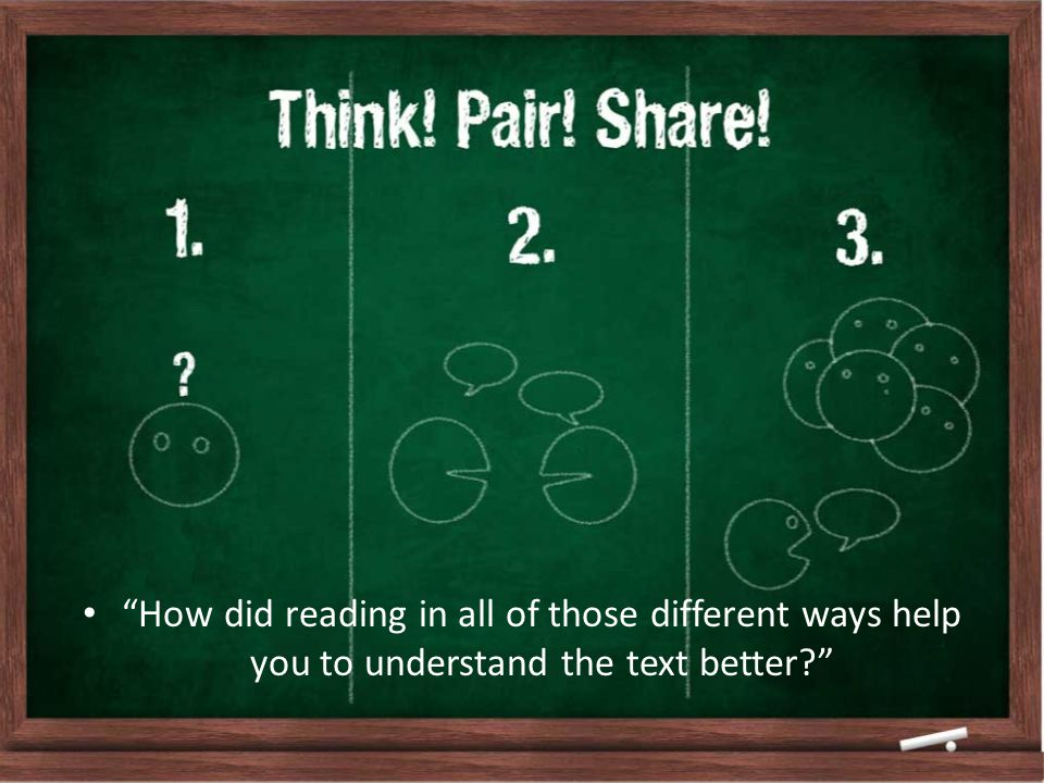 How did reading in all of those different ways help you to understand the text better