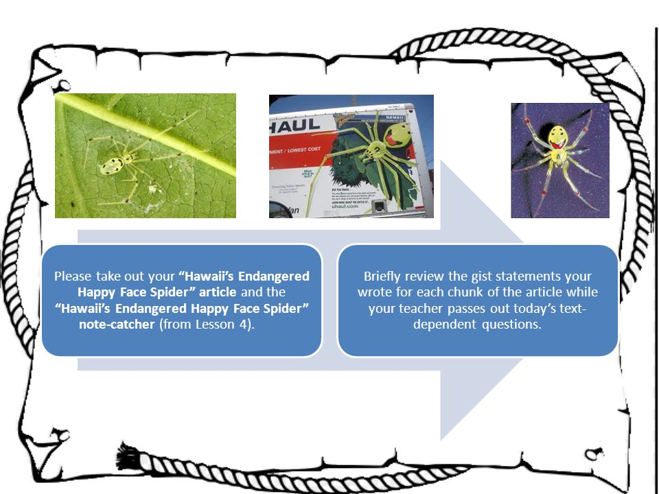 Please take out your Hawaii's Endangered Happy Face Spider article and the Hawaii's Endangered Happy Face Spider note-catcher (from Lesson 4).