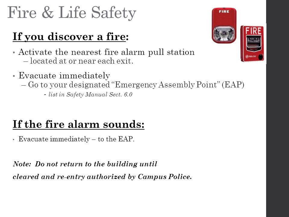 Fire & Life Safety If you discover a fire: If the fire alarm sounds: