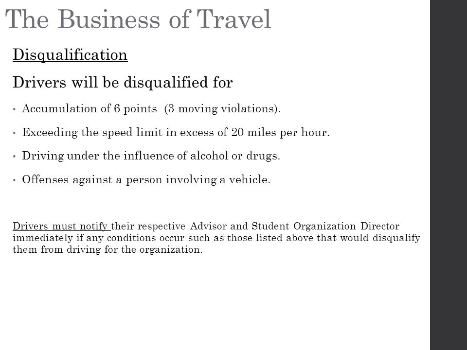 The Business of Travel Disqualification