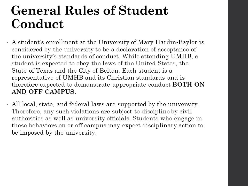 General Rules of Student Conduct