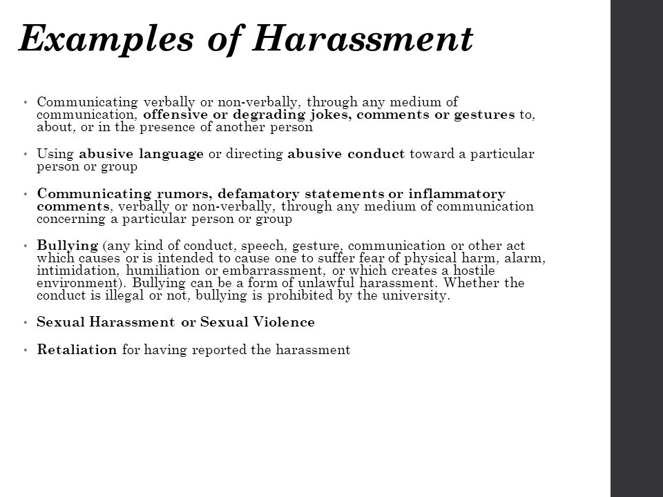 Examples of Harassment