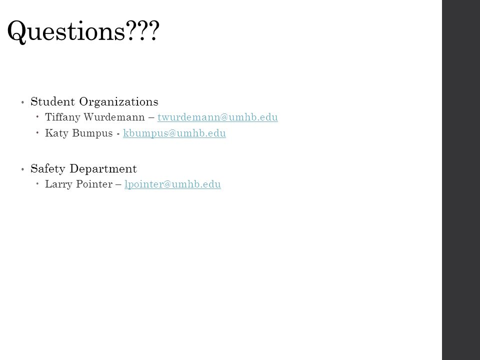 Questions Student Organizations Safety Department