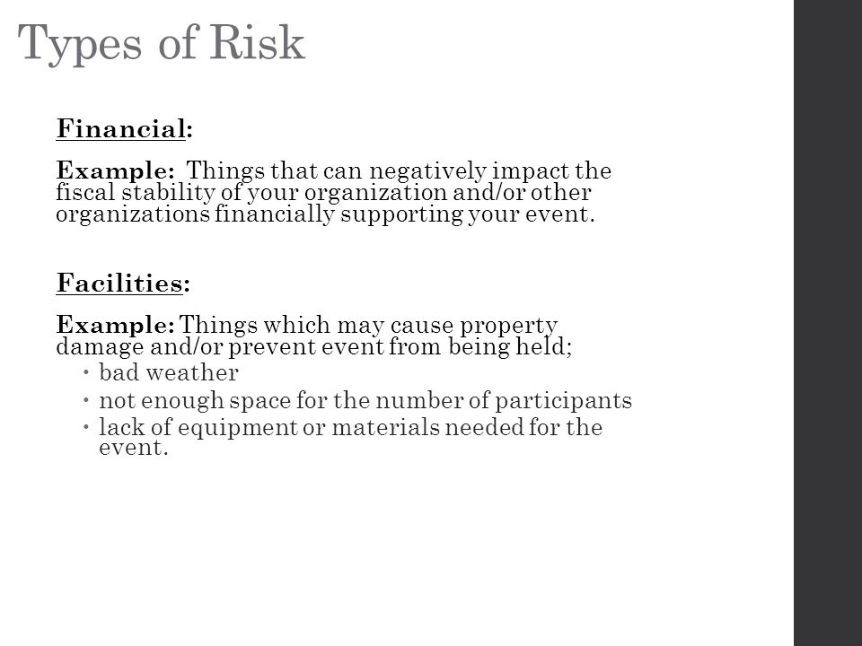 Types of Risk Financial: Facilities: