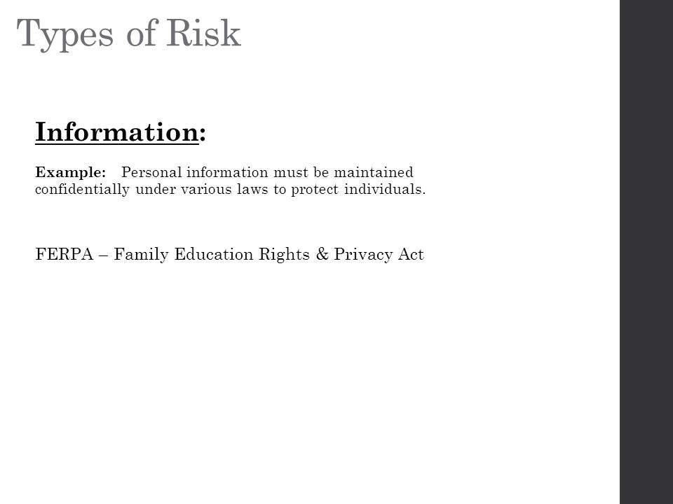 Types of Risk Information: