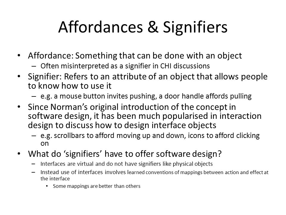 Affordances & Signifiers