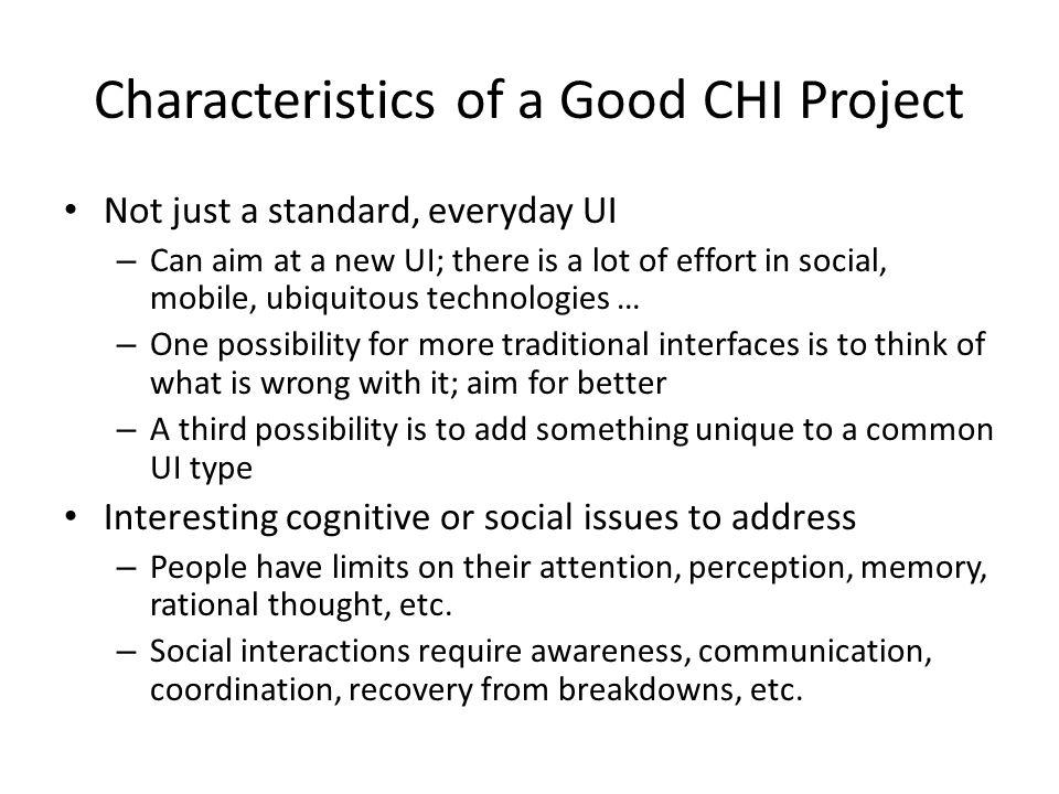 Characteristics of a Good CHI Project