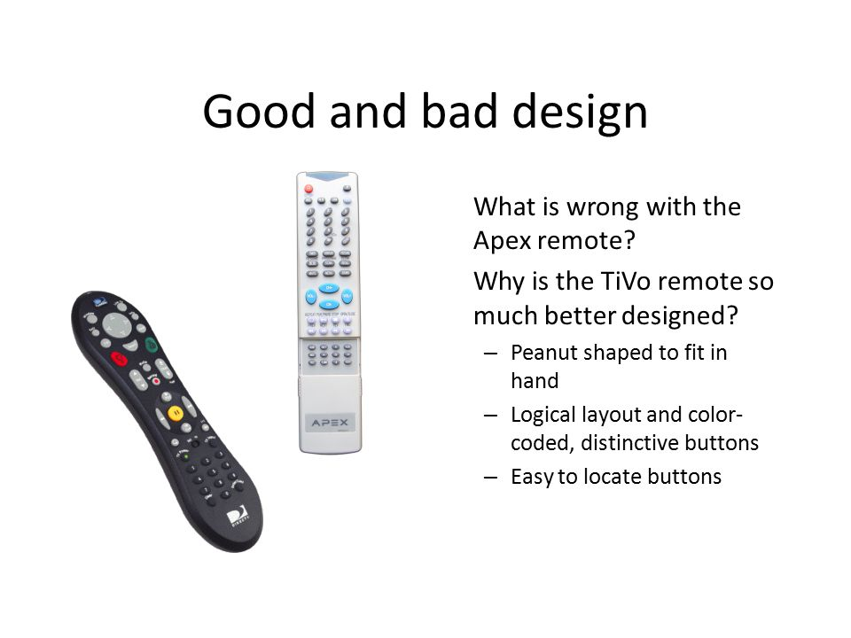 Good and bad design What is wrong with the Apex remote